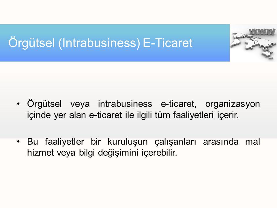 Örgütsel veya intrabusiness e-ticaret, organizasyon içinde yer alan e-ticaret ile ilgili tüm faaliyetleri içerir. Bu faaliyetler bir kuruluşun çalışan