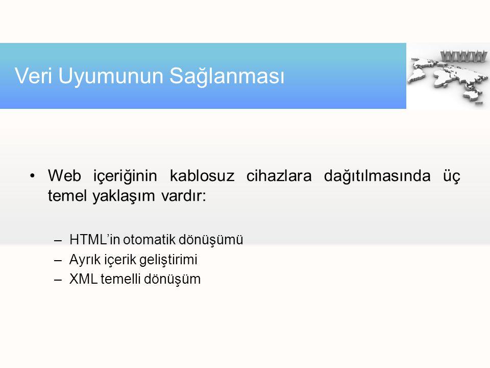 Web içeriğinin kablosuz cihazlara dağıtılmasında üç temel yaklaşım vardır: –HTML'in otomatik dönüşümü –Ayrık içerik geliştirimi –XML temelli dönüşüm V