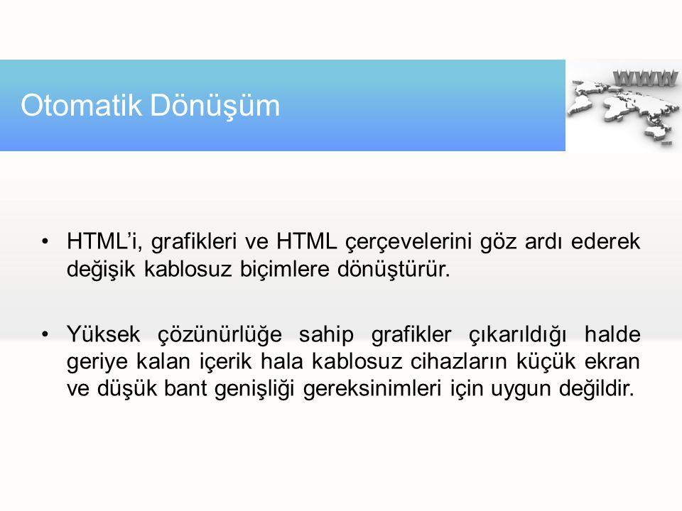 HTML'i, grafikleri ve HTML çerçevelerini göz ardı ederek değişik kablosuz biçimlere dönüştürür. Yüksek çözünürlüğe sahip grafikler çıkarıldığı halde g