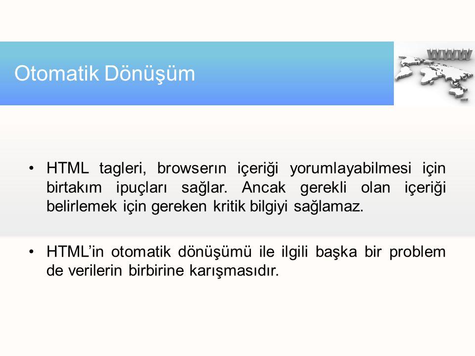 HTML tagleri, browserın içeriği yorumlayabilmesi için birtakım ipuçları sağlar. Ancak gerekli olan içeriği belirlemek için gereken kritik bilgiyi sağl