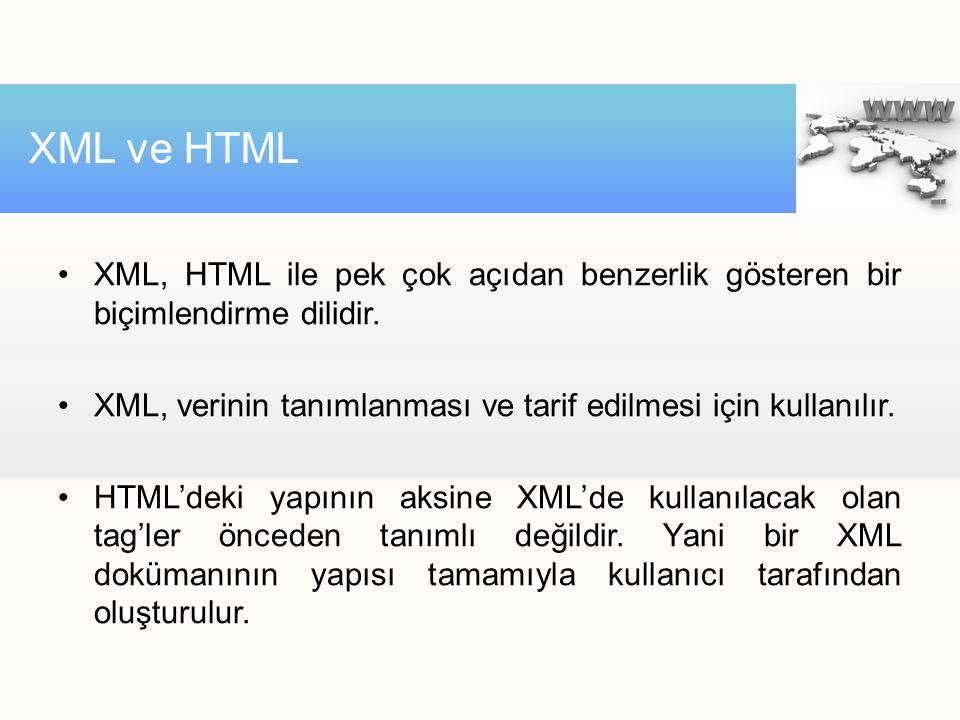 XML, HTML ile pek çok açıdan benzerlik gösteren bir biçimlendirme dilidir. XML, verinin tanımlanması ve tarif edilmesi için kullanılır. HTML'deki yapı