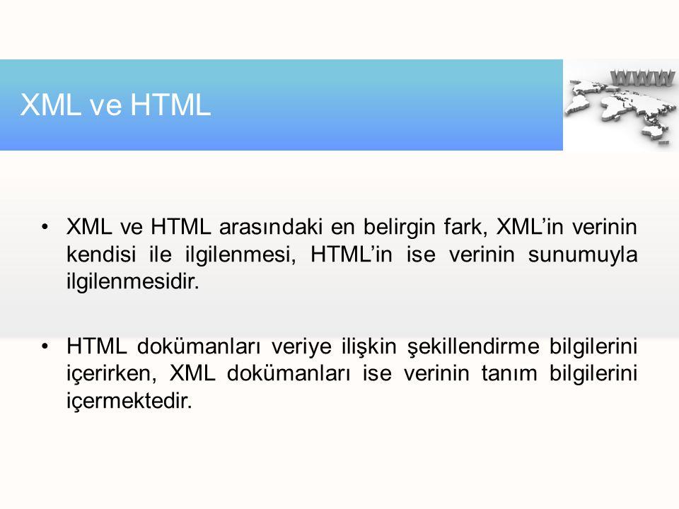 XML ve HTML arasındaki en belirgin fark, XML'in verinin kendisi ile ilgilenmesi, HTML'in ise verinin sunumuyla ilgilenmesidir. HTML dokümanları veriye
