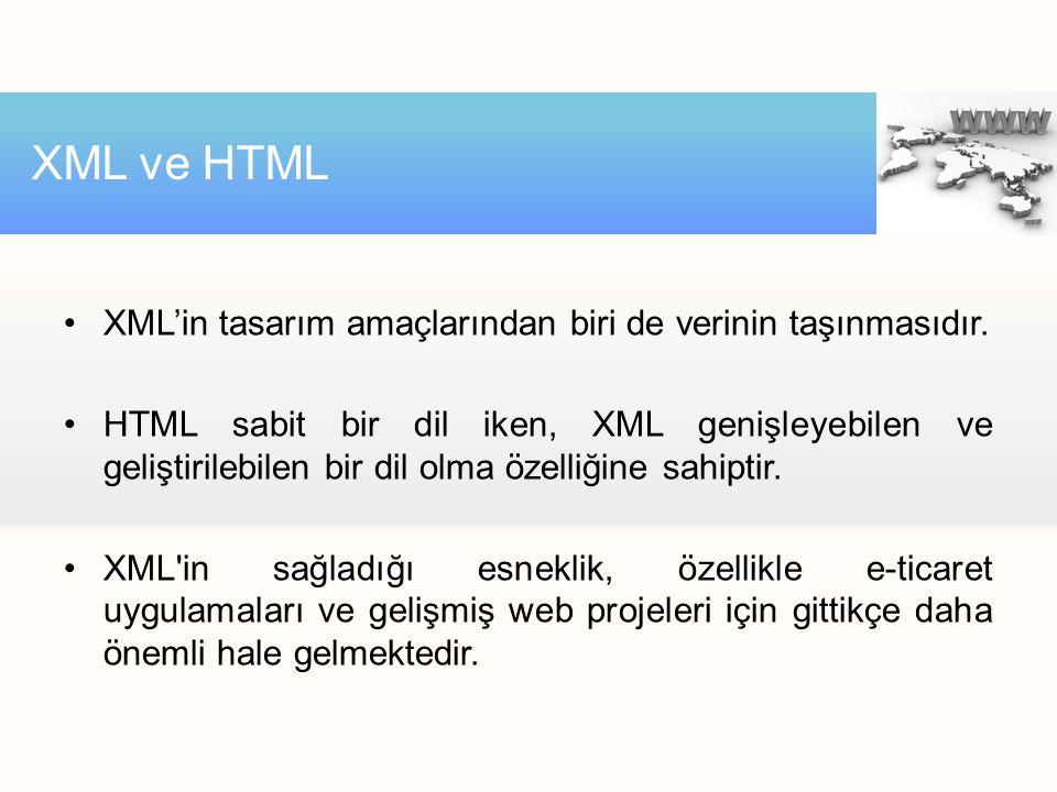 XML'in tasarım amaçlarından biri de verinin taşınmasıdır. HTML sabit bir dil iken, XML genişleyebilen ve geliştirilebilen bir dil olma özelliğine sahi
