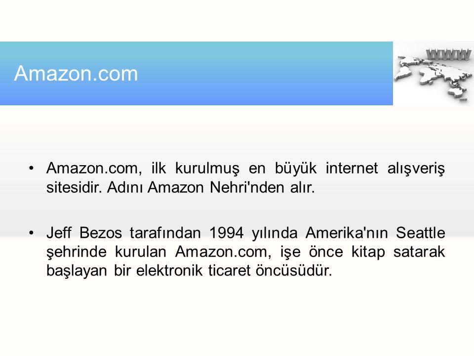 Amazon.com, ilk kurulmuş en büyük internet alışveriş sitesidir. Adını Amazon Nehri'nden alır. Jeff Bezos tarafından 1994 yılında Amerika'nın Seattle ş