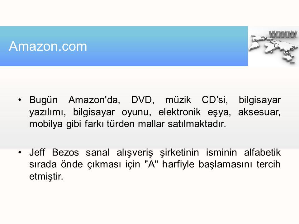 Bugün Amazon'da, DVD, müzik CD'si, bilgisayar yazılımı, bilgisayar oyunu, elektronik eşya, aksesuar, mobilya gibi farkı türden mallar satılmaktadır. J