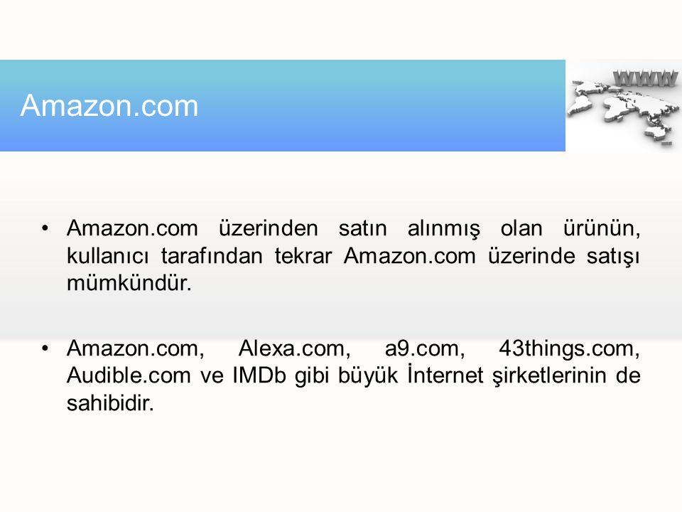 Amazon.com üzerinden satın alınmış olan ürünün, kullanıcı tarafından tekrar Amazon.com üzerinde satışı mümkündür. Amazon.com, Alexa.com, a9.com, 43thi