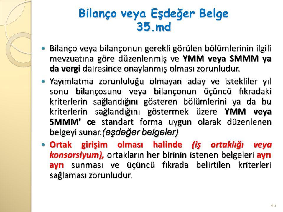 Bilanço veya Eşdeğer Belge 35.md Bilanço veya bilançonun gerekli görülen bölümlerinin ilgili mevzuatına göre düzenlenmiş ve YMM veya SMMM ya da vergi