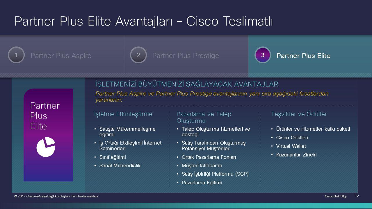 Cisco Gizli Bilgi 12 © 2014 Cisco ve/veya bağlı kuruluşları. Tüm hakları saklıdır. Partner Plus Aspire 3 2 Partner Plus PrestigePartner Plus Elite 1 P
