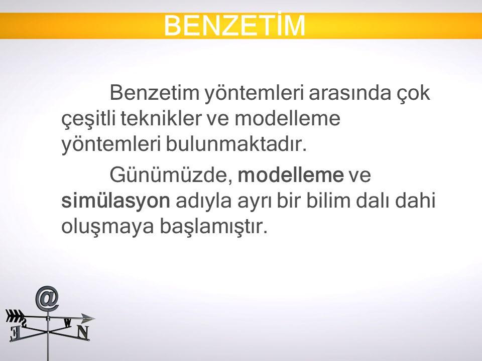 BENZETİM Benzetim yöntemleri arasında çok çeşitli teknikler ve modelleme yöntemleri bulunmaktadır. Günümüzde, modelleme ve simülasyon adıyla ayrı bir
