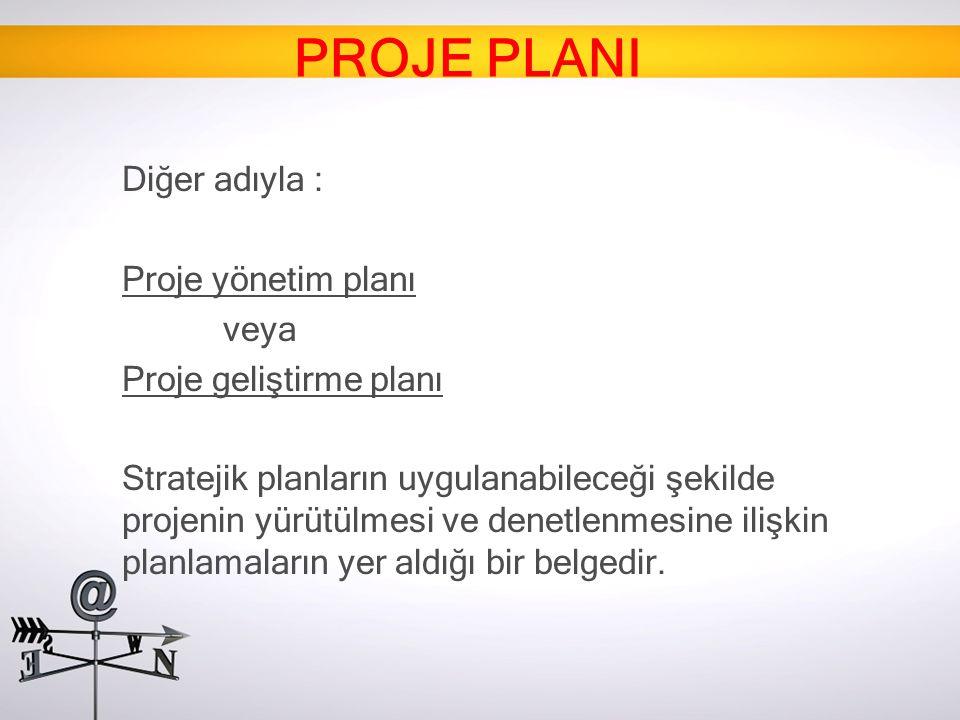 Diğer adıyla : Proje yönetim planı veya Proje geliştirme planı Stratejik planların uygulanabileceği şekilde projenin yürütülmesi ve denetlenmesine ili