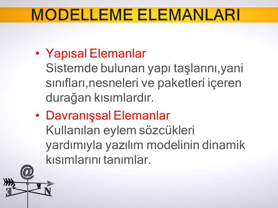 MODELLEME ELEMANLARI Yapısal Elemanlar Sistemde bulunan yapı taşlarını,yani sınıfları,nesneleri ve paketleri içeren durağan kısımlardır. Davranışsal E