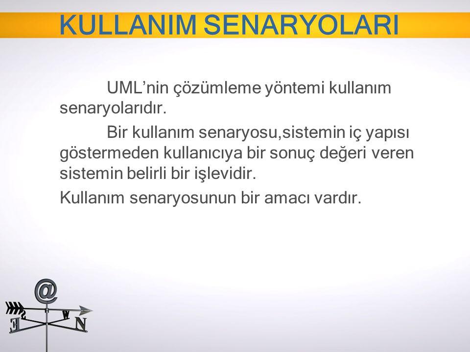 UML'nin çözümleme yöntemi kullanım senaryolarıdır. Bir kullanım senaryosu,sistemin iç yapısı göstermeden kullanıcıya bir sonuç değeri veren sistemin b