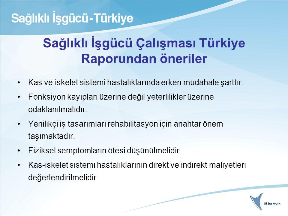 Sağlıklı İşgücü Çalışması Türkiye Raporundan öneriler Kas ve iskelet sistemi hastalıklarında erken müdahale şarttır.