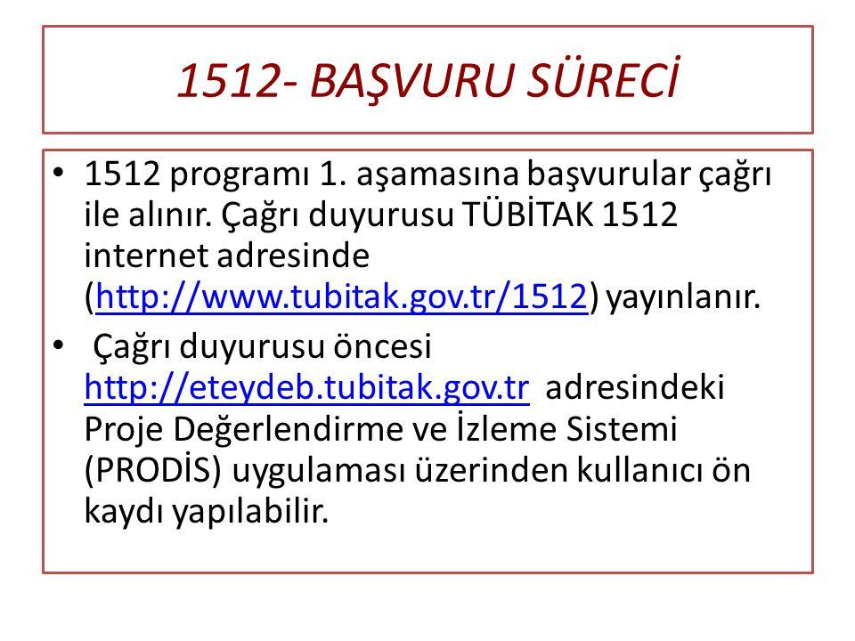 1512- BAŞVURU SÜRECİ 1512 programı 1.aşamasına başvurular çağrı ile alınır.