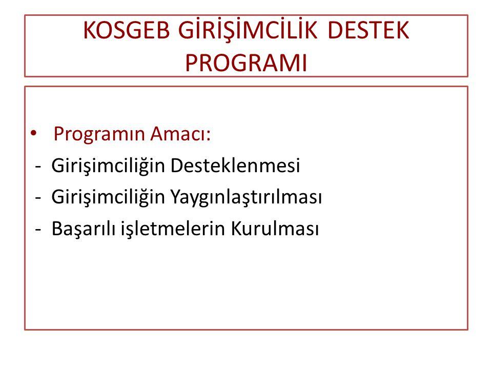 KOSGEB GİRİŞİMCİLİK DESTEK PROGRAMI Programın Amacı: - Girişimciliğin Desteklenmesi - Girişimciliğin Yaygınlaştırılması - Başarılı işletmelerin Kurulması