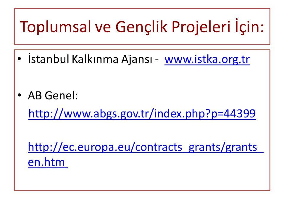 Toplumsal ve Gençlik Projeleri İçin: İstanbul Kalkınma Ajansı - www.istka.org.trwww.istka.org.tr AB Genel: http://www.abgs.gov.tr/index.php?p=44399 http://ec.europa.eu/contracts_grants/grants_ en.htm