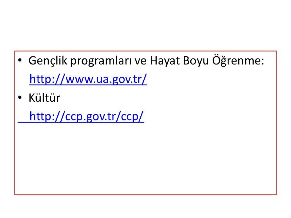 Gençlik programları ve Hayat Boyu Öğrenme: http://www.ua.gov.tr/ Kültür http://ccp.gov.tr/ccp/
