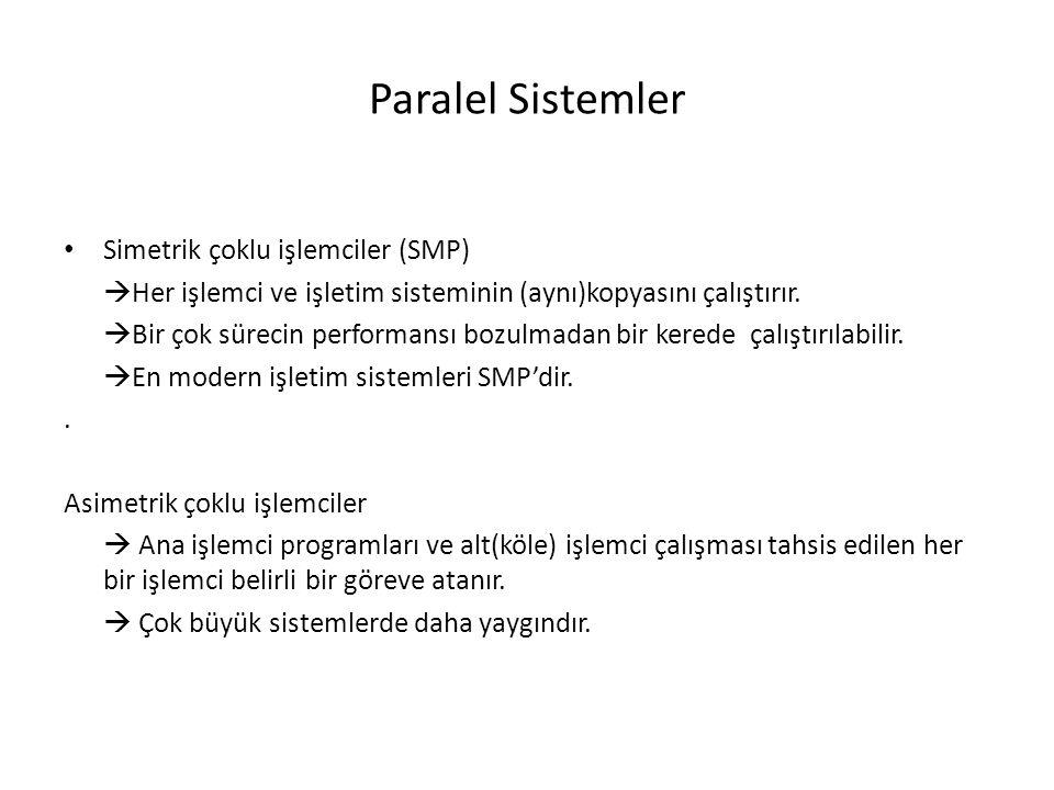 Paralel Sistemler Simetrik çoklu işlemciler (SMP)  Her işlemci ve işletim sisteminin (aynı)kopyasını çalıştırır.
