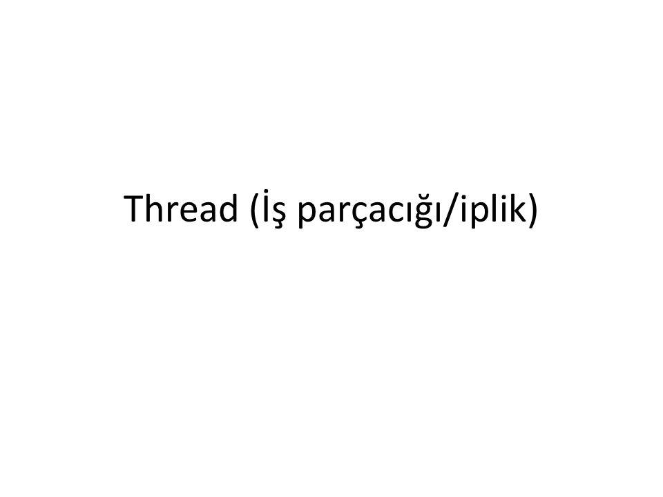 Thread Aynı adres uzayında çalışan paralel hafif proseslerdir.