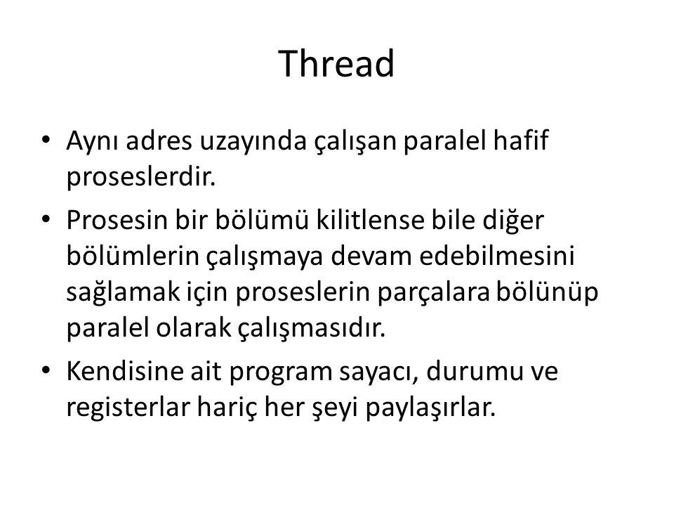 Thread Aynı adres uzayında çalışan paralel hafif proseslerdir. Prosesin bir bölümü kilitlense bile diğer bölümlerin çalışmaya devam edebilmesini sağla