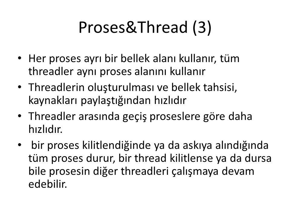 Proses&Thread (3) Her proses ayrı bir bellek alanı kullanır, tüm threadler aynı proses alanını kullanır Threadlerin oluşturulması ve bellek tahsisi, kaynakları paylaştığından hızlıdır Threadler arasında geçiş proseslere göre daha hızlıdır.