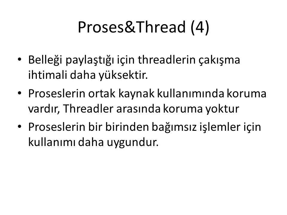 Proses&Thread (4) Belleği paylaştığı için threadlerin çakışma ihtimali daha yüksektir. Proseslerin ortak kaynak kullanımında koruma vardır, Threadler
