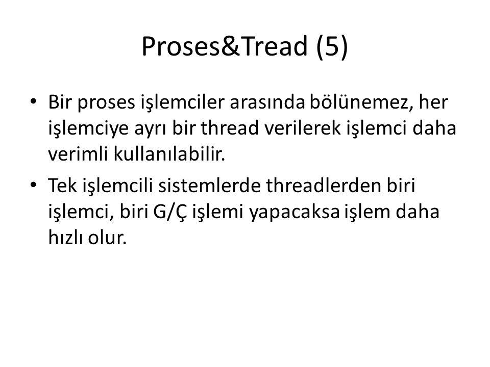 Proses&Tread (5) Bir proses işlemciler arasında bölünemez, her işlemciye ayrı bir thread verilerek işlemci daha verimli kullanılabilir. Tek işlemcili