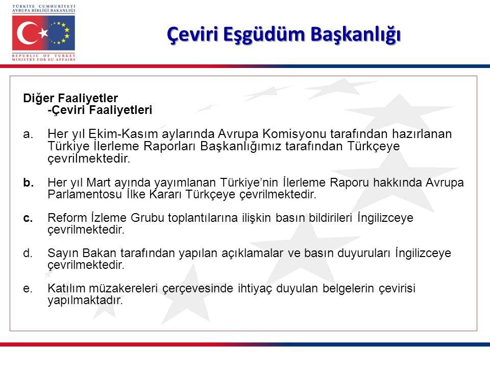 Çeviri Eşgüdüm Başkanlığı Diğer Faaliyetler -Çeviri Faaliyetleri a.Her yıl Ekim-Kasım aylarında Avrupa Komisyonu tarafından hazırlanan Türkiye İlerleme Raporları Başkanlığımız tarafından Türkçeye çevrilmektedir.