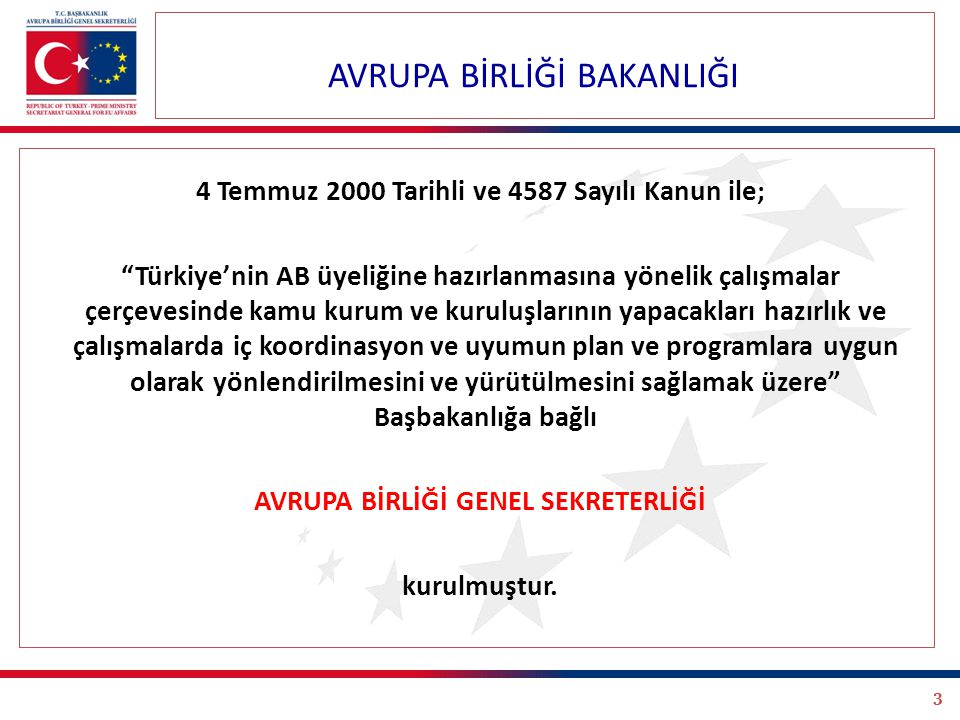 3 4 Temmuz 2000 Tarihli ve 4587 Sayılı Kanun ile; Türkiye'nin AB üyeliğine hazırlanmasına yönelik çalışmalar çerçevesinde kamu kurum ve kuruluşlarının yapacakları hazırlık ve çalışmalarda iç koordinasyon ve uyumun plan ve programlara uygun olarak yönlendirilmesini ve yürütülmesini sağlamak üzere Başbakanlığa bağlı AVRUPA BİRLİĞİ GENEL SEKRETERLİĞİ kurulmuştur.