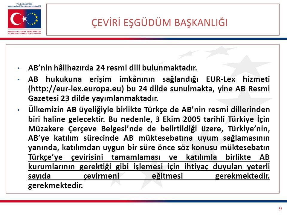 Çeviri Eşgüdüm Başkanlığı Diğer Faaliyetler - İletişim Faaliyetleri Müzakere Çerçeve Belgesi'nde, Türkiye'nin, katılımıyla birlikte AB kurumlarının ihtiyaç duyacağı yeterli sayıda çevirmeni yetiştirmesi öngörülmektedir.
