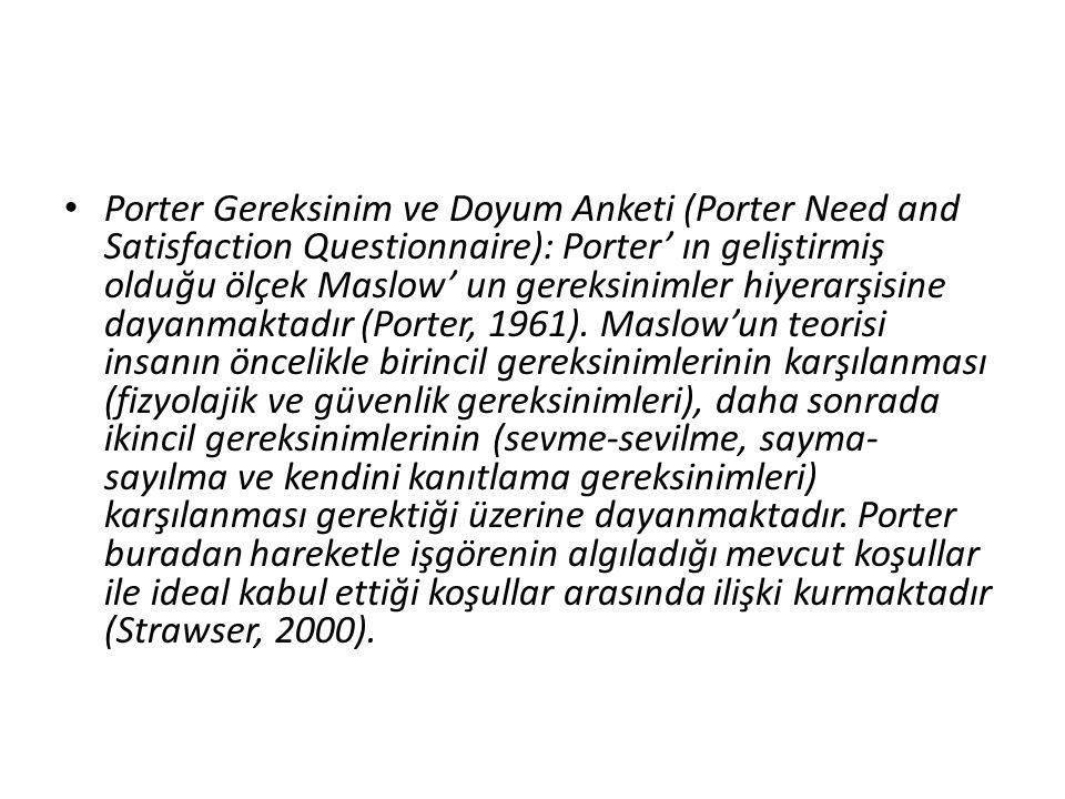 Porter Gereksinim ve Doyum Anketi (Porter Need and Satisfaction Questionnaire): Porter' ın geliştirmiş olduğu ölçek Maslow' un gereksinimler hiyerarşi