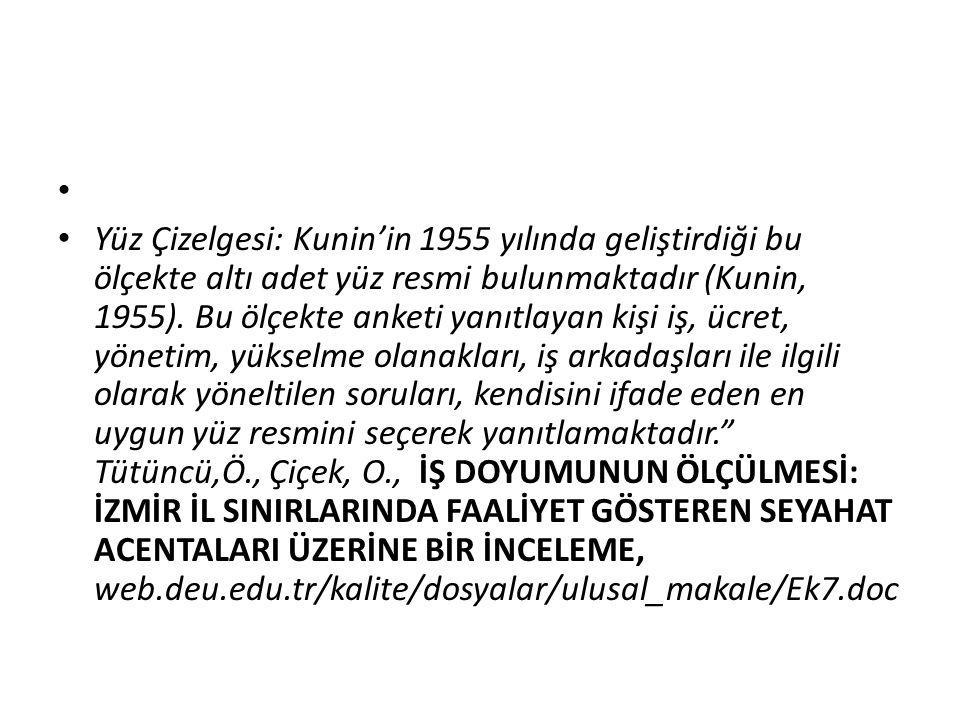 Yüz Çizelgesi: Kunin'in 1955 yılında geliştirdiği bu ölçekte altı adet yüz resmi bulunmaktadır (Kunin, 1955). Bu ölçekte anketi yanıtlayan kişi iş, üc