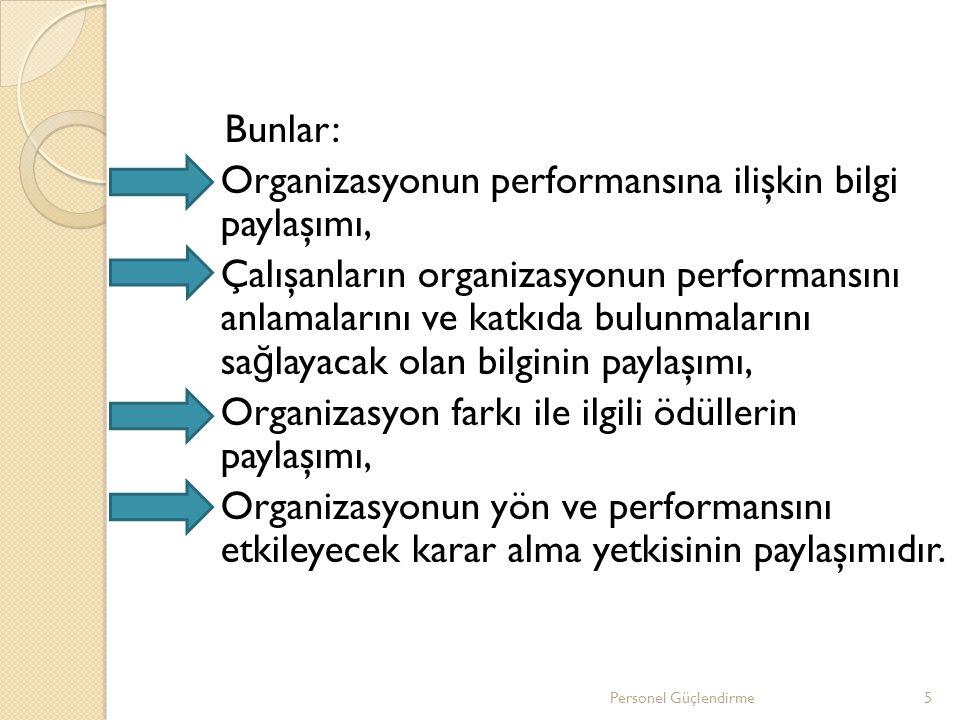 Bunlar: Organizasyonun performansına ilişkin bilgi paylaşımı, Çalışanların organizasyonun performansını anlamalarını ve katkıda bulunmalarını sa ğ lay