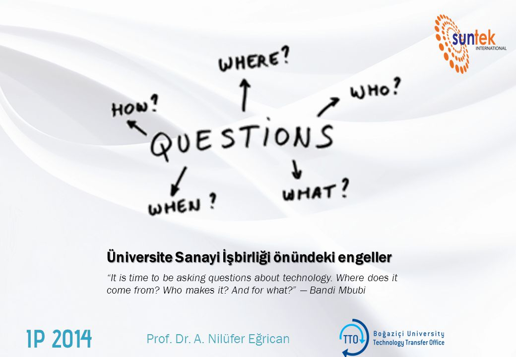 "Üniversite Sanayi İşbirliği önündeki engeller ""It is time to be asking questions about technology. Where does it come from? Who makes it? And for what"