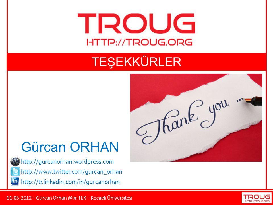 11.05.2012 – Gürcan Orhan @ π-TEK – Kocaeli Üniversitesi TEŞEKKÜRLER Gürcan ORHAN http://gurcanorhan.wordpress.com http://www.twitter.com/gurcan_orhan