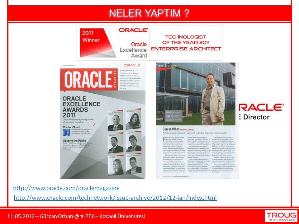 11.05.2012 – Gürcan Orhan @ π-TEK – Kocaeli Üniversitesi NELER YAPTIM ? http://www.oracle.com/oraclemagazine http://www.oracle.com/technetwork/issue-a