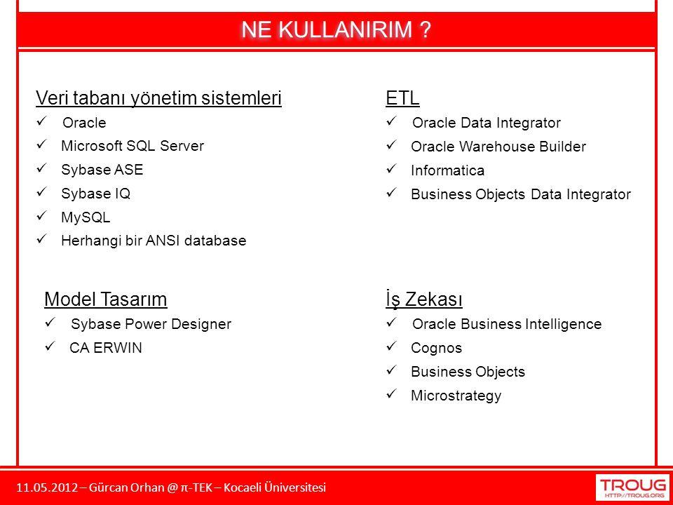 11.05.2012 – Gürcan Orhan @ π-TEK – Kocaeli Üniversitesi NE KULLANIRIM ? Oracle Microsoft SQL Server Veri tabanı yönetim sistemleri Sybase ASE Sybase