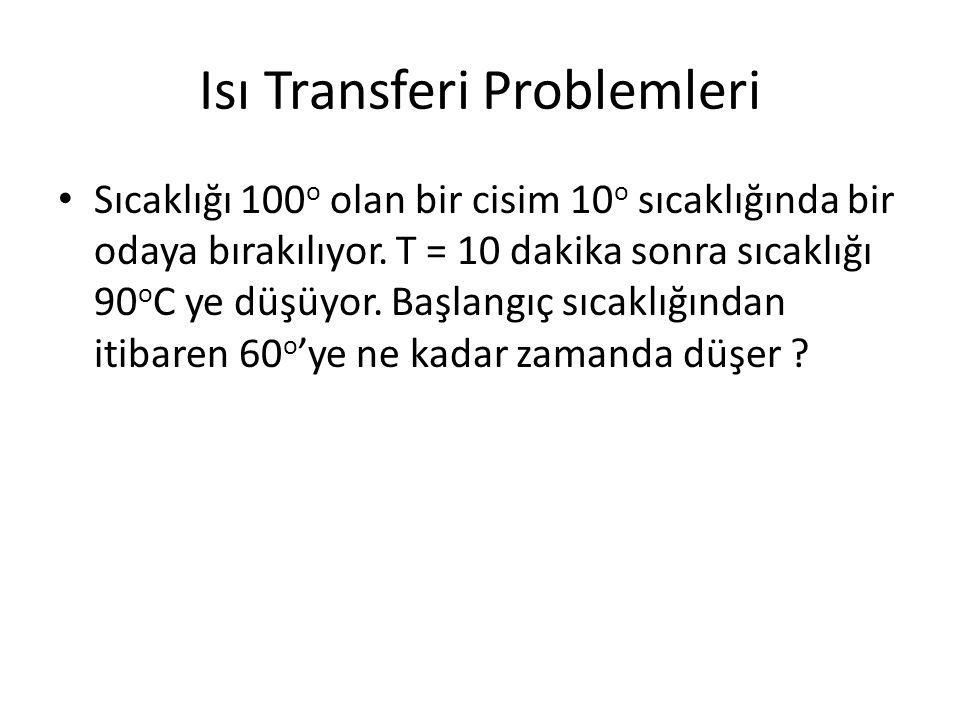 Isı Transferi Problemleri Sıcaklığı 100 o olan bir cisim 10 o sıcaklığında bir odaya bırakılıyor. T = 10 dakika sonra sıcaklığı 90 o C ye düşüyor. Baş