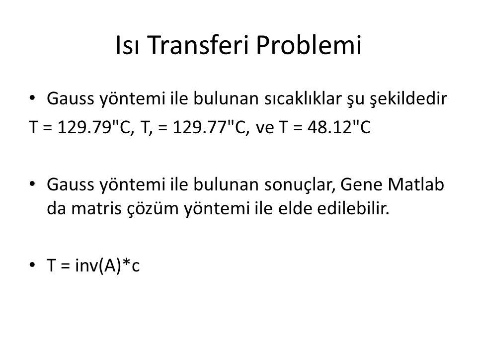 Isı Transferi Problemi Gauss yöntemi ile bulunan sıcaklıklar şu şekildedir T = 129.79