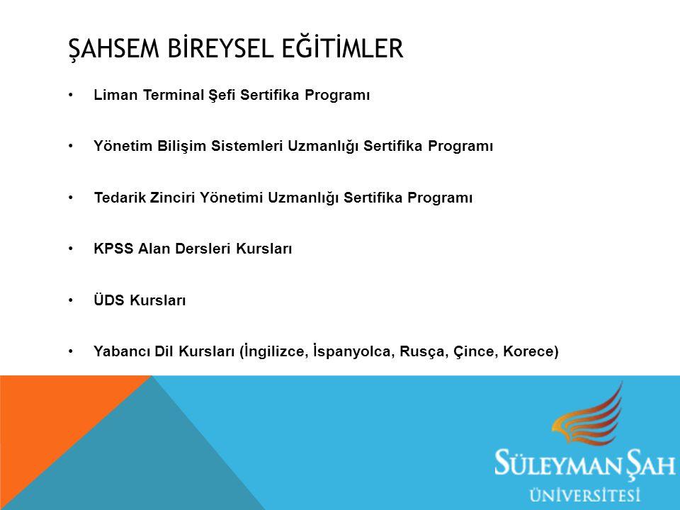 ŞAHSEM BİREYSEL EĞİTİMLER Liman Terminal Şefi Sertifika Programı Yönetim Bilişim Sistemleri Uzmanlığı Sertifika Programı Tedarik Zinciri Yönetimi Uzma