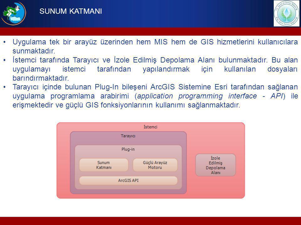 Uygulama tek bir arayüz üzerinden hem MIS hem de GIS hizmetlerini kullanıcılara sunmaktadır. İstemci tarafında Tarayıcı ve İzole Edilmiş Depolama Alan