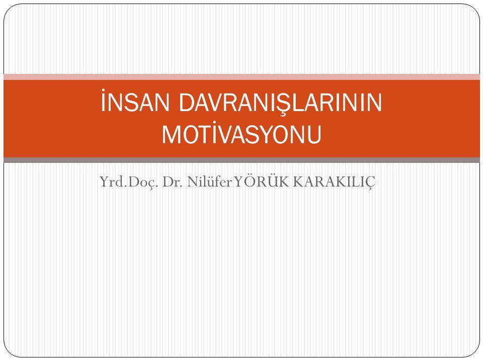Yrd.Doç. Dr. Nilüfer YÖRÜK KARAKILIÇ İNSAN DAVRANIŞLARININ MOTİVASYONU