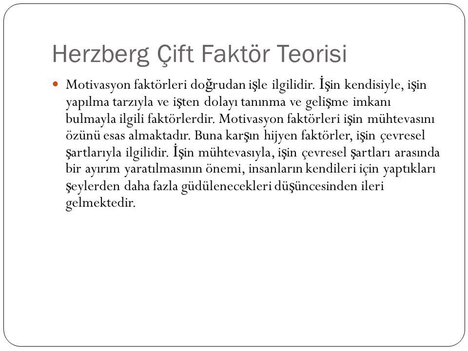 Herzberg Çift Faktör Teorisi Motivasyon faktörleri do ğ rudan i ş le ilgilidir. İş in kendisiyle, i ş in yapılma tarzıyla ve i ş ten dolayı tanınma ve