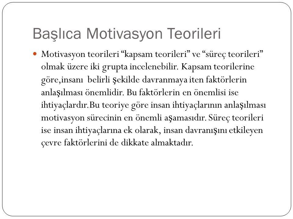 """Başlıca Motivasyon Teorileri Motivasyon teorileri """"kapsam teorileri"""" ve """"süreç teorileri"""" olmak üzere iki grupta incelenebilir. Kapsam teorilerine gör"""