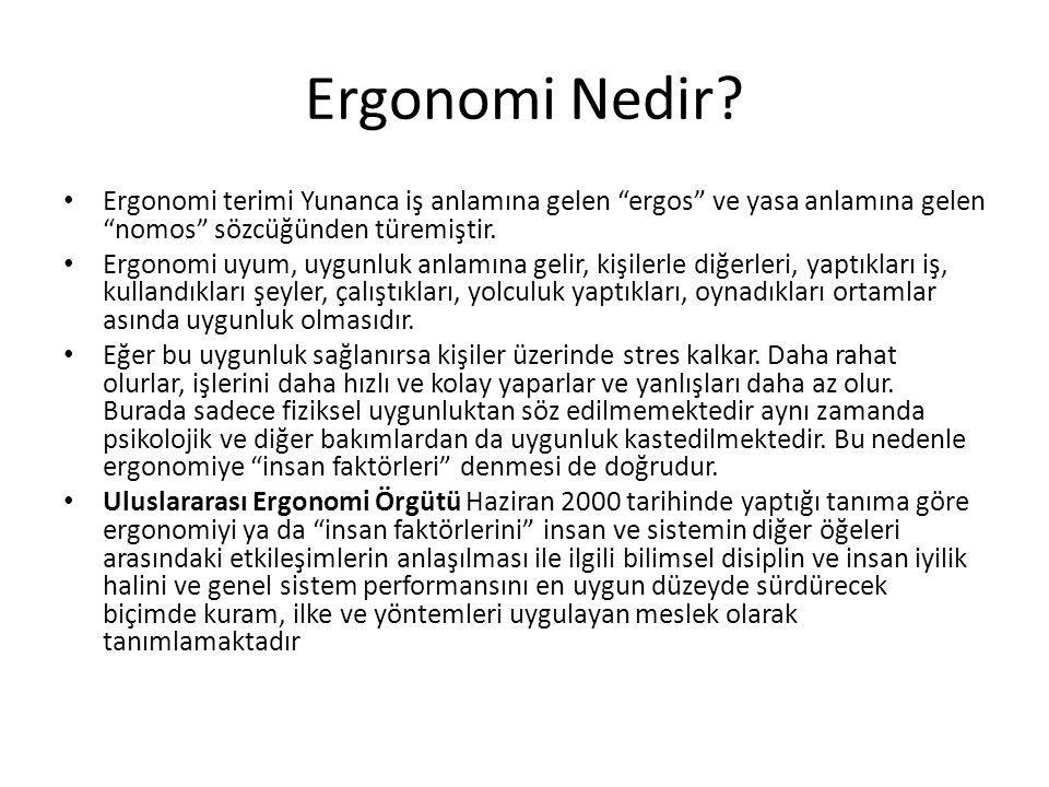 """Ergonomi Nedir? Ergonomi terimi Yunanca iş anlamına gelen """"ergos"""" ve yasa anlamına gelen """"nomos"""" sözcüğünden türemiştir. Ergonomi uyum, uygunluk anlam"""