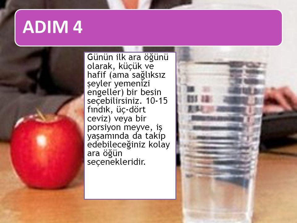 ADIM 4 Günün ilk ara öğünü olarak, küçük ve hafif (ama sağlıksız şeyler yemenizi engeller) bir besin seçebilirsiniz. 10-15 fındık, üç-dört ceviz) veya