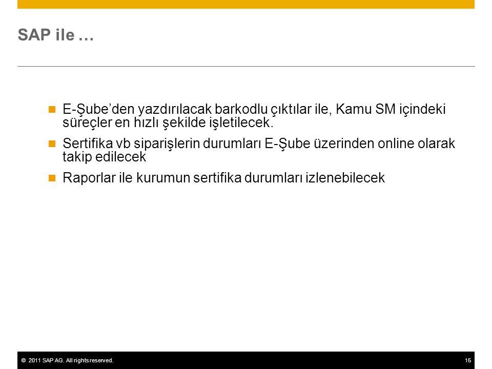 ©2011 SAP AG. All rights reserved.15 SAP ile … E-Şube'den yazdırılacak barkodlu çıktılar ile, Kamu SM içindeki süreçler en hızlı şekilde işletilecek.