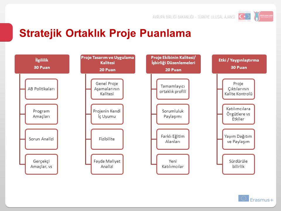 Stratejik Ortaklık Proje Puanlama İlgililik 30 Puan AB Politikaları Program Amaçları Sorun Analizi Gerçekçi Amaçlar, vs Proje Tasarım ve Uygulama Kali