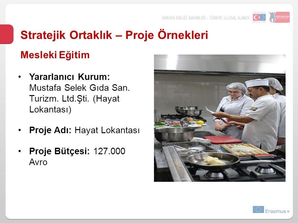 Stratejik Ortaklık – Proje Örnekleri Yararlanıcı Kurum: Mustafa Selek Gıda San. Turizm. Ltd.Şti. (Hayat Lokantası) Proje Adı: Hayat Lokantası Proje Bü