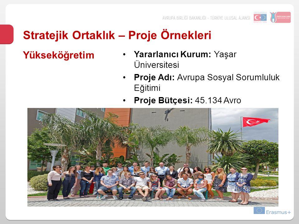 Stratejik Ortaklık – Proje Örnekleri Yararlanıcı Kurum: Yaşar Üniversitesi Proje Adı: Avrupa Sosyal Sorumluluk Eğitimi Proje Bütçesi: 45.134 Avro Yüks
